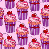 Background with pink cupcakes Royalty Free Stock Image