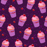Background with pink cupcakes Stock Photo