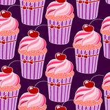 Background with pink cupcakes Stock Image