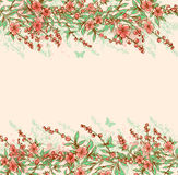 Background with pink flowering branch. Royalty Free Stock Photos