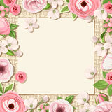 Background with pink flowers on a sacking background. Vector eps-10. Stock Image