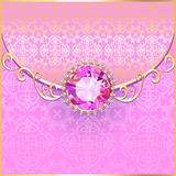 Background with pink gems and gold ornaments Royalty Free Stock Photo