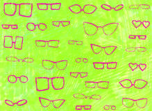 Background with pink glasses. Funny neon background with different types of glasses Stock Images