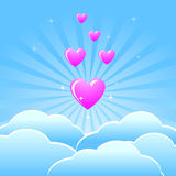 Background with pink heart and blue clouds Stock Images