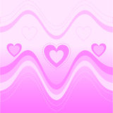 Background with pink heart and wave Stock Photography
