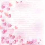 Background with pink hearts. Background with small pink hearts and handwritten text Royalty Free Stock Photo