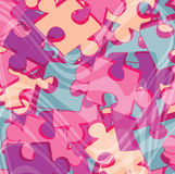 Background with pink jigsaw puzzle pieces stock images