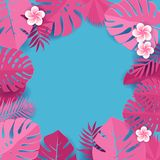 Background of pink palm leaves in blue backdrop. Frame of tropical monstera leaves with frangipani flowers. Tropical greeting card stock illustration