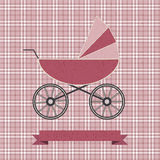 Background with a pink pram. Vector background with a pinnk pram Stock Photos