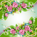 Background with pink roses. Beautiful background with pink roses, drops and pearls Stock Photos
