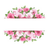 Background with pink roses. Background with pink roses and leaves Stock Photos