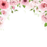 Background with pink roses and lisianthus flowers. Vector illustration. vector illustration