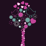Background with pink tree and birds in love . Vector illustration royalty free illustration