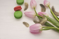 Background with pink tulips and macaroons. Stock Images