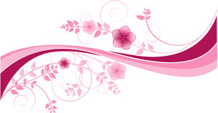 Background with pink waves and floral motives royalty free illustration