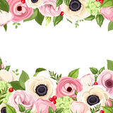 Background with pink and white flowers and green leaves. Vector illustration. Royalty Free Stock Images
