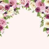 Background with pink and white roses and lisianthus flowers. Vector illustration. Stock Photos