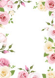 Background with pink and white roses and lisianthus flowers. Vector illustration. Royalty Free Stock Photography