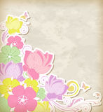 Background with pink and yellow flowers Stock Images