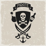 Background on pirate theme with objects and Royalty Free Stock Image