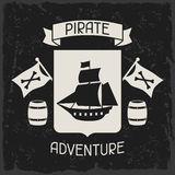 Background on pirate theme with objects and Royalty Free Stock Photo