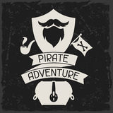 Background on pirate theme with objects and Royalty Free Stock Images