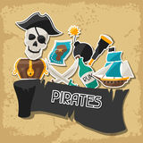 Background on pirate theme with stickers and Stock Photo