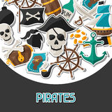 Background on pirate theme with stickers and Stock Images