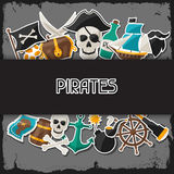 Background on pirate theme with stickers and Stock Photos