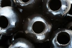 Background of pitted Olives-close-up, macro stock image
