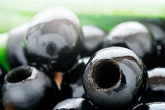Background of pitted Olives-close-up, macro stock photo