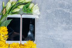 Background with a place for an inscription are smartphones, one of them with a broken screen and around flowers. royalty free stock photos
