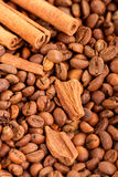 Background of the placers of coffee beans and cinnamon sticks cl Royalty Free Stock Images