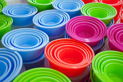 Background of plastic basins. Abstract background of different colored plastic basins at a market Royalty Free Stock Photography