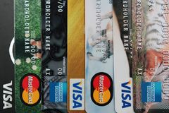 Background of plastic credit and debit cards closeup Royalty Free Stock Photos