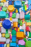 Background from plastic ware - bottles, buckets, canisters, box Stock Images