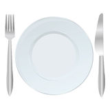 Background with plate, fork and knife Stock Images