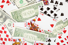 Background of playing cards and money - gambling Stock Photos