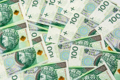 Background of 100 PLN banknotes Royalty Free Stock Photos