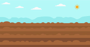 Background of plowed agricultural field. Background of plowed agricultural field  flat design illustration. Horizontal layout Stock Photography