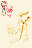 Background with Plum Blossom stock illustration