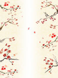 Background with Plum blossom. Background with texture of paper of the hand casting and Plum blossom,flying around petals. Picture in east style by India ink vector illustration