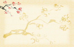 Background with Plum blossom. Painted on yellow rice paper stock illustration