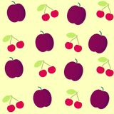 Background  with plum and cherry Stock Image