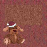 Background with a plush puppy in a Christmas cap Royalty Free Stock Images