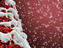 Background of a poinsettia Christmas tree in snow Royalty Free Stock Images