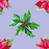 Background with poinsettia and Holly leaves. Seamless pattern. Watercolor. Royalty Free Stock Photo