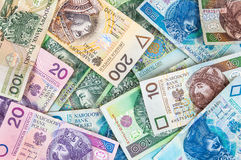 Background of polish banknotes Royalty Free Stock Photos