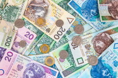 Background of polish banknotes and coins Royalty Free Stock Images