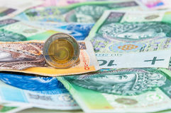 Background of polish banknotes and coins Stock Photo